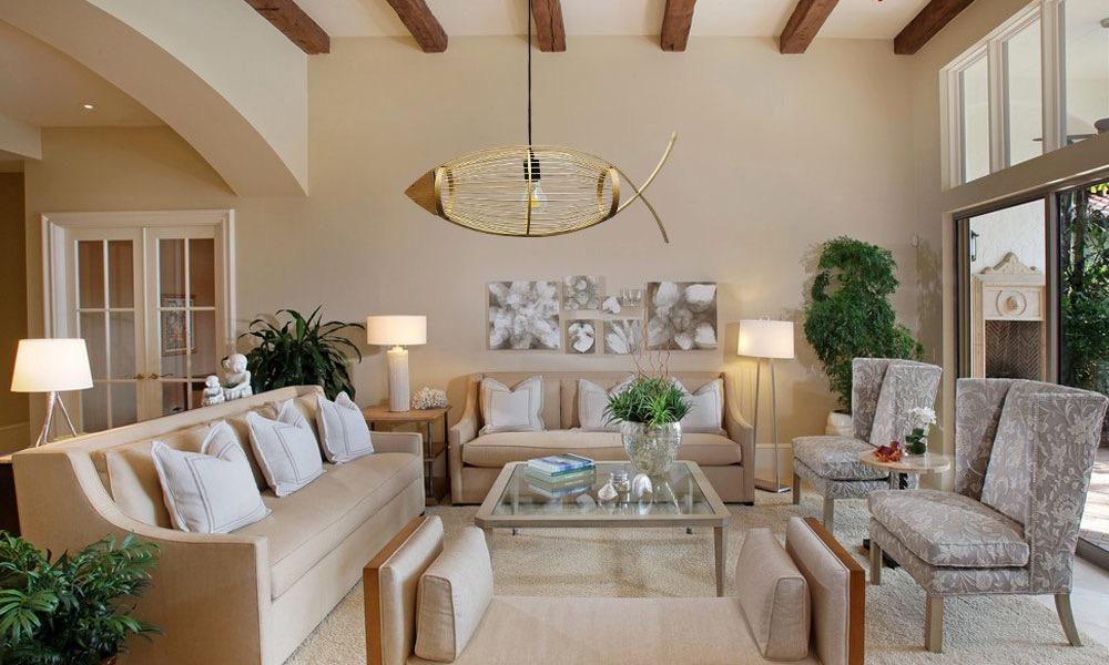 Mẫu đèn tre hình con cá trang trí cho quán trà, phòng khách