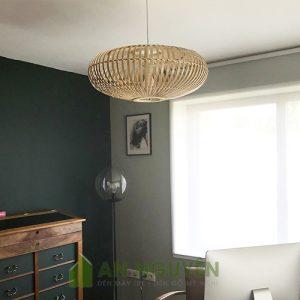Đèn lồng mây tre thả trần trang trí quán cafe phong cách đồng quê Fi 50 H 25cm