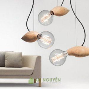 Đèn gỗ: Mẫu đèn gỗ thả trần hình con ong