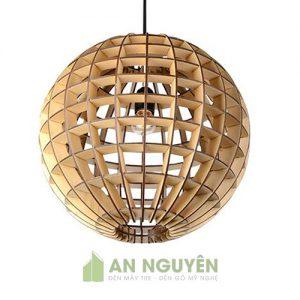 Đèn gỗ thả hình quả cầu trang trí nhà hàng quán ăn đồng quê size lớn