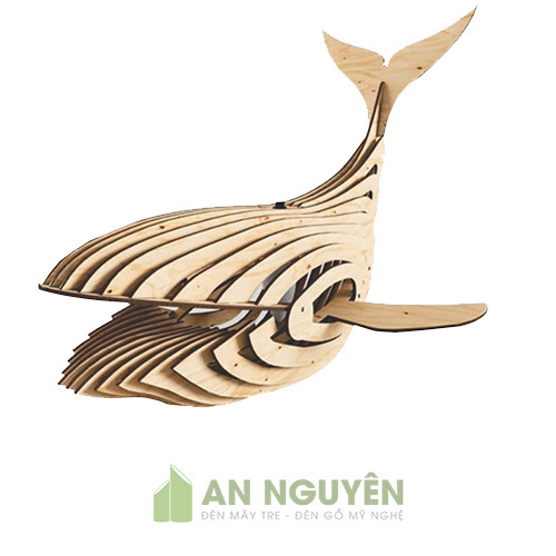 Đèn thả gỗ hình con cá voi trang trí nghệ thuật