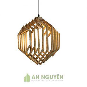 Đèn thả gỗ hình lục giác đều trang trí quán cafe, quán ăn