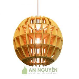 Đèn gỗ thả trang trí hình quả cầu size nhỏ