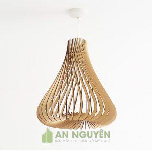 Đèn gỗ mẫu đèn thả gỗ trang trí nhà hàng