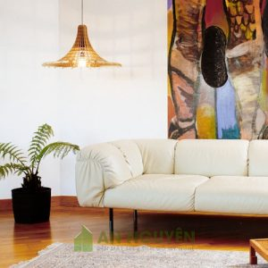 Đèn Gỗ: Mẫu đèn gỗ trang trí phòng khách nghệ thuật DG012