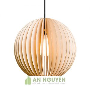 Đèn thả gỗ hình cầu trang trí bàn ăn tphcm