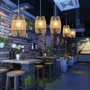 Đèn gỗ hình thùng rượu gỗ trang trí quán ăn, quán cafe, phòng khách