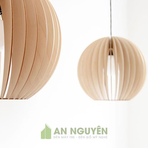 Đèn gỗ hình cầu thả trần trang trí bàn ăn, phòng khách mã DG016