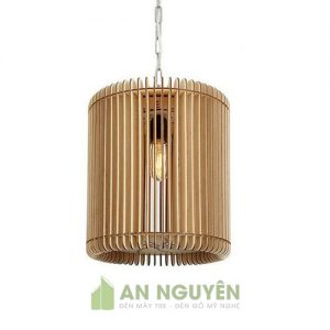 Đèn Gỗ: Mẫu đèn gỗ hình trụ trang trí phòng khách DG028