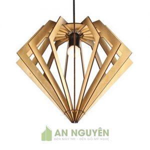 Đèn Gỗ Mẫu đèn thả gỗ hình kim cương trang trí phòng ngủ DG037