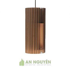 Đèn Gỗ: Mẫu đèn thả gỗ hình trụ đứng thanh xoắn DG027