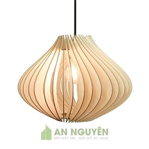 Đèn Gỗ: Mẫu đèn gỗ song gỗ xoắn trang trí nhà hàng DG036