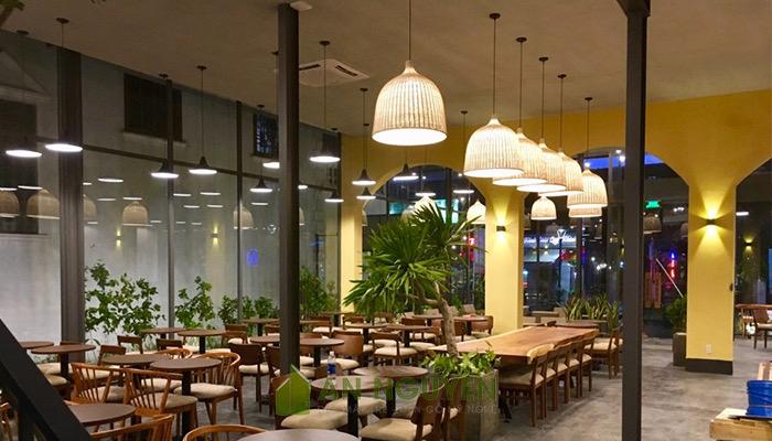 Đèn mây tre trang trí nhà hàng, quán ăn, homestay đèn thả bằng tre