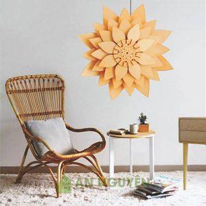 Đèn Gỗ: Mẫu đèn thả gỗ, đèn vách gỗ cánh hoa sen DG022