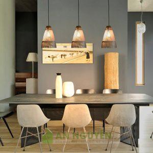 Đèn gỗ: Mẫu đèn gỗ thả trần hình nơm cá trang trí phòng khách DG040