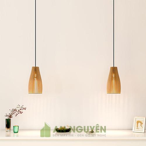 Đèn Gỗ: Mẫu đèn thả gỗ nhỏ gọn trang trí bàn ăn TPHCM DG038