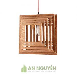 Đèn Gỗ: Đèn thả trần gỗ hình vuông đồng tâm trang trí quán trà sữa DG026