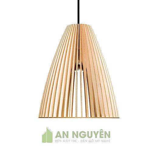Đèn Gỗ: Mẫu đèn thả trần bằng gỗ trang trí hình nón cụt DG025