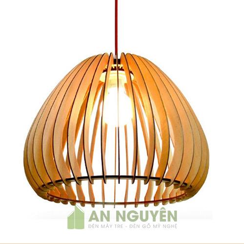 Đèn Gỗ: Mẫu đèn thả gỗ hình trái điều trang trí bàn ăn DG032