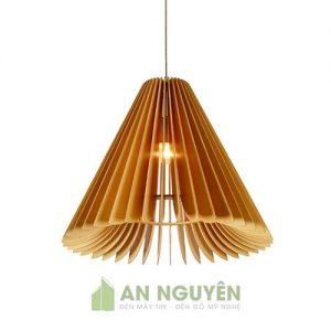 Đèn Gỗ: Mẫu đèn gỗ hình nón cánh vát trang trí resort DG029