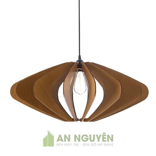 Đèn Gỗ: Mẫu đèn gỗ thả trần như lồng đèn trang trí phòng khách sang trọng DG034