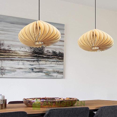 Đèn Gỗ: Mẫu đèn gỗ song gỗ xoắn trang trí nhà hàng DG035