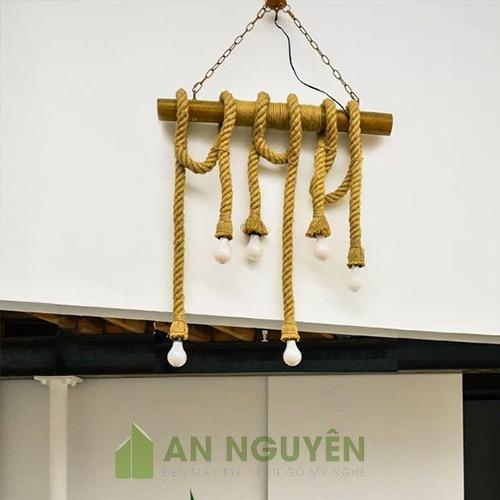 Đèn Thả: Bộ đèn thả bằng tre thả trần quấn dây thừng 6 đui đèn Vintage