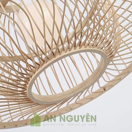 Đèn Mây Tre: Mẫu đèn lồng nan tre tròn trang trí nhà hàng Phi 45 H30