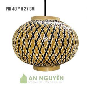 Đèn Mây Tre: Mẫu đèn lồng tre đan 1 lớp nan 2 màu 2 vành phi 40 cao 27 cm