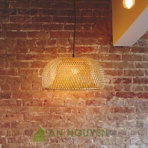 Đèn Mây Tre: Mẫu đèn mây tre 2 lớp Fi 30 H 18 trang trí nhà hàng, quán ăn
