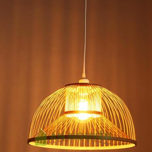 Đèn Mây Tre: Mẫu đèn mây tre tròn trang trí quán ăn nhà hàng Phi 40 Cao 24cm