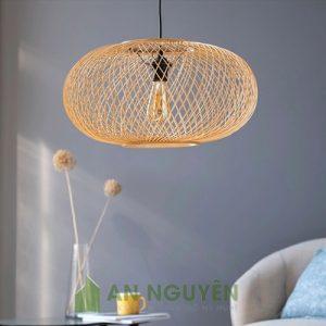 Đèn Mây Tre: Mẫu đèn tre đan chéo hình cầu dẹt, ellipsoid Phi 50 H 24cm