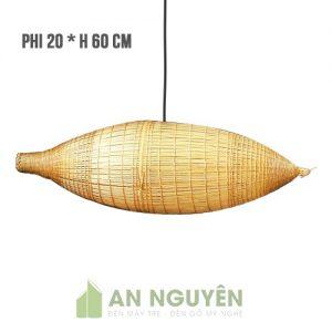 Đèn Mây Tre: Mẫu đèn tre trang trí hình cái đó bắt cá Phi 20 Cao 60 cm