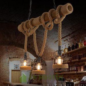 Đèn Mây Tre: Mẫu đèn cây tre quấn dây thừng thả 3 lồng sắt trang trí phòng cách cổ điển