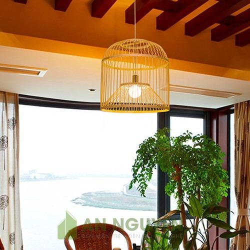 Đèn mây tre kiểu lồng chim trang trí nhà hàng, quán ăn, homestay An Nguyên