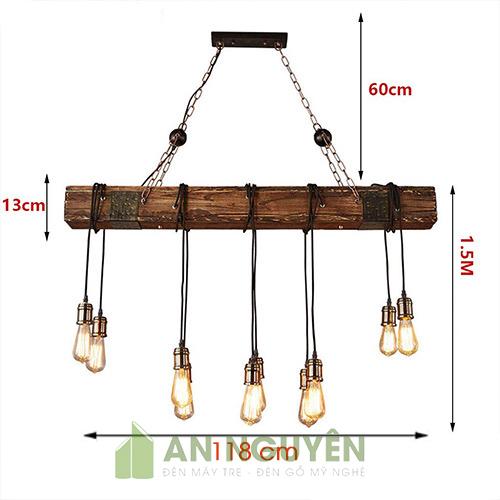 Đèn Gỗ: Mẫu đèn thả cây gỗ 10 bóng đui trang trí quán cafe cực đẹp