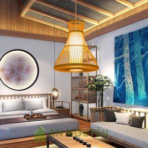 Đèn Mây Tre Đèn tăm tre nghệ thuật có lồng nhựa trang trí nhà hàng1