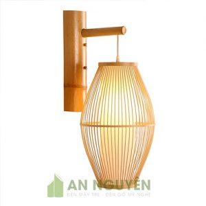 Đèn Mây Tre: Mẫu đèn vách tăm tre hình oval lồng nhựa trang trí nhà hàng