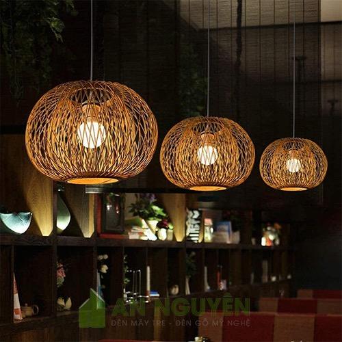 Đèn Mây Tre: Mẫu đèn tăm tre hình cầu 2 lớp tăm tre trang trí nhà hàng