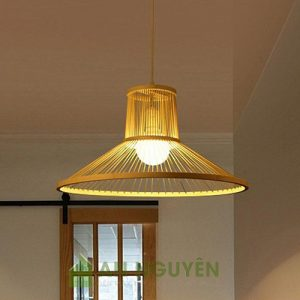 Đèn mây tre mẫu đèn tăm tre hình phễu trang trí bàn ăn1