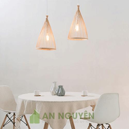 Mẫu đèn tăm tre hình chóp buộc đầu trang trí quán ăn1
