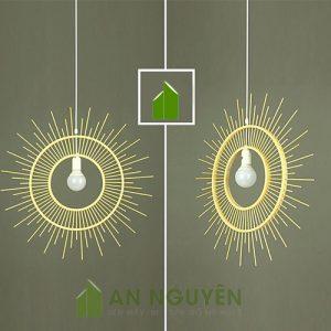 Đèn Mây Tre: Mẫu đèn tăm tre như cái gương thả trần trang trí