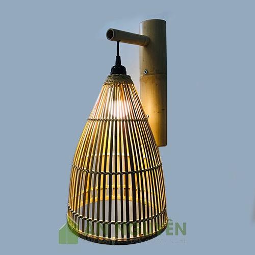 Đèn Mây Tre: Mẫu đèn vách mây tre nơm cá phi 25 cm