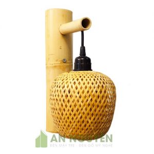 Đèn vách kiểu lồng tre đan 2 lớp phi 15 cm - An Nguyên