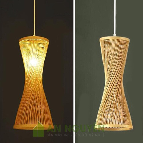 Mẫu đèn tăm tre đan kiểu đồng hồ cát nghệ thuật - An Nguyên Bamboo