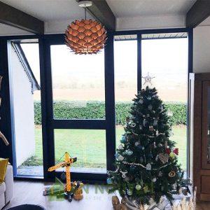 Đèn Gỗ: Mẫu đèn gỗ hình hoa atiso trang trí phòng khách