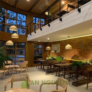 Đèn Gỗ: Mẫu đèn gỗ nửa quả thông trang trí quán cafe cực đẹp - An Nguyên