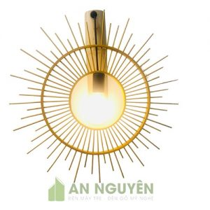 Đèn Mây Tre: Mẫu đèn vách tre hình mặt trời trang trí quán cafe