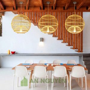 Đèn mây tre hình cầu đan hình cầu trang trí bàn ăn nhà hàng