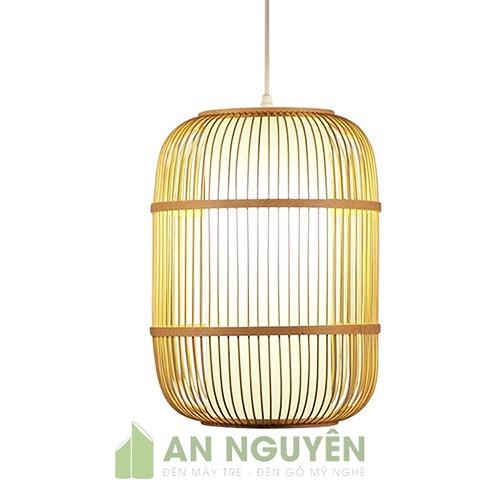 Đèn Mây Tre: Mẫu đèn tăm tre đan hình trụ có lồng vải trang trí nhà hàng truyền thống